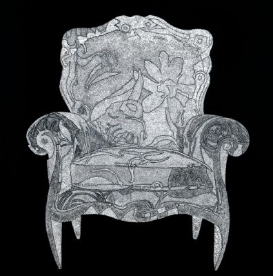chair / Eggshell, Mother-of-Pearl, Lacquered on panel, 2009 / 90 x 90 cm (35.4 x 35.4 inch)