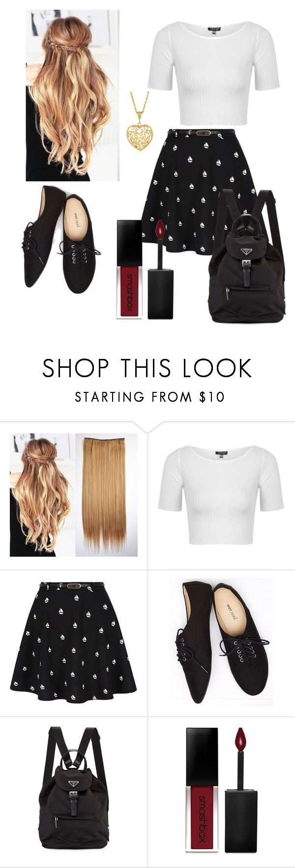 """On the Shore"" by dayna-eichenser on Polyvore featuring Topshop, Yumi, Wet Seal, Prada and Smashbox"