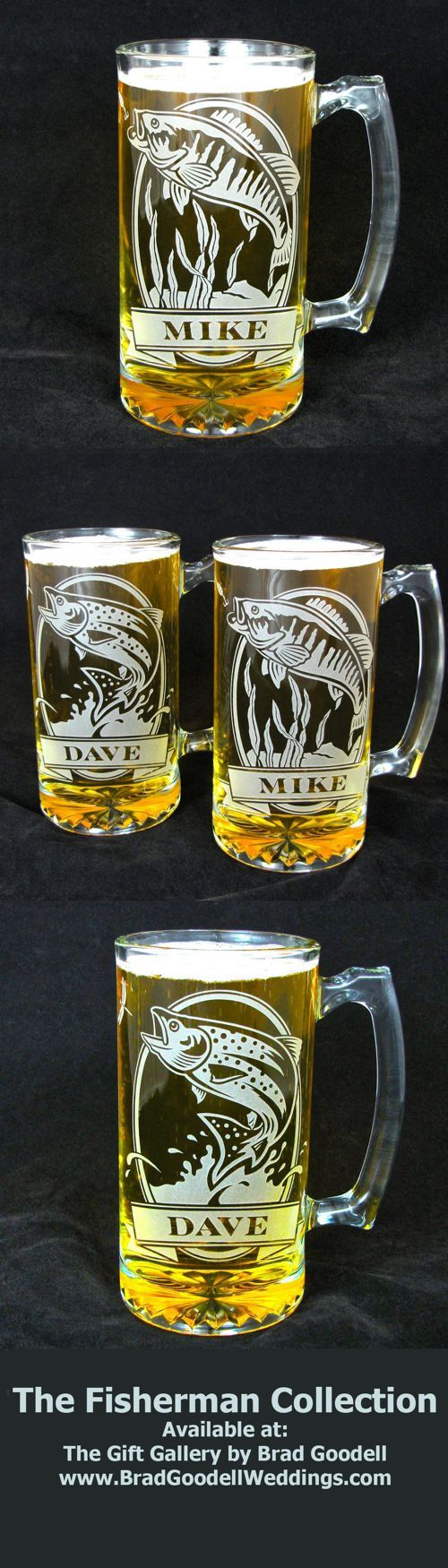 Personalized beer mugs with trout and bass.  Great gifts for Anglers!  Available at The Gift Gallery by Brad Goodell  --  www.BradGoodellWeddings.com