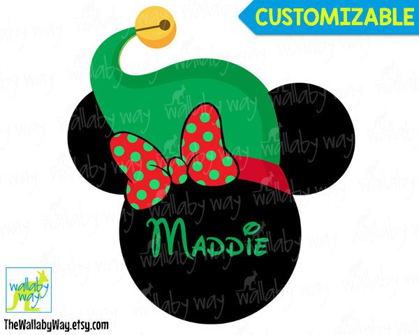 Christmas Minnie with Elf Hat Printable Iron On Transfer or Use as Clip Art - DIY Disney Shirt Mickeys Very Merry Christmas Party Mickey by TheWallabyWay on Etsy