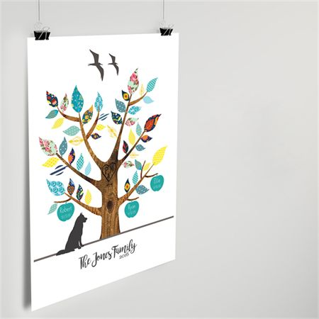 Lovely personal gift idea for Mum this year - custom family tree wall art print