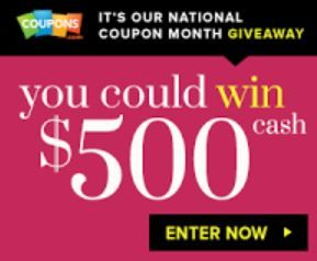 Coupon Queen: You Could WIN $500 CASH from Coupons.com National Coupon Month Giveaway