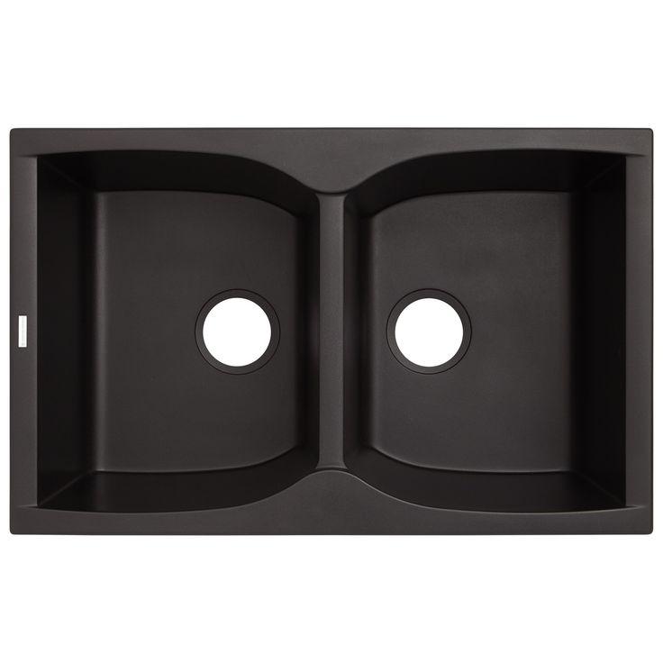 "32"" Rossini Double-Bowl Drop-In Granite Composite Sink - Black"