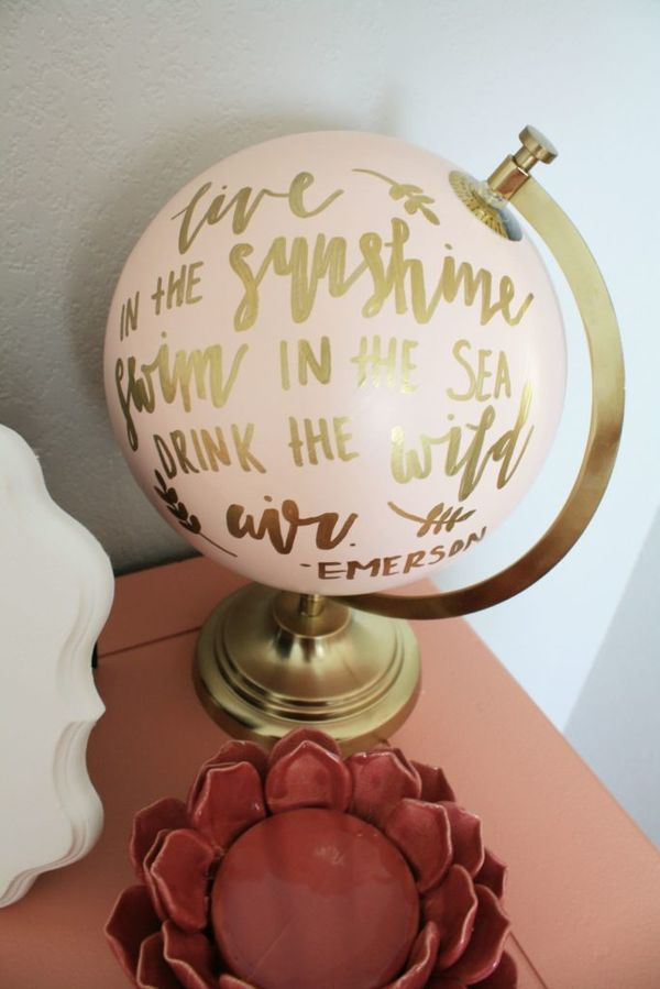 Hand Painted Globe in a Nursery - love this sweet quote!