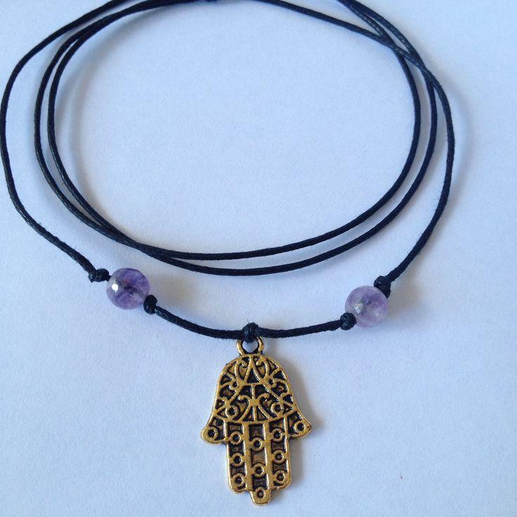 Hamsa Charm Amethyst Bead Necklace  sistaura  https://www.etsy.com/au/listing/223867729/hamsa-charm-amethyst-bead-necklace?ref=shop_home_active_5