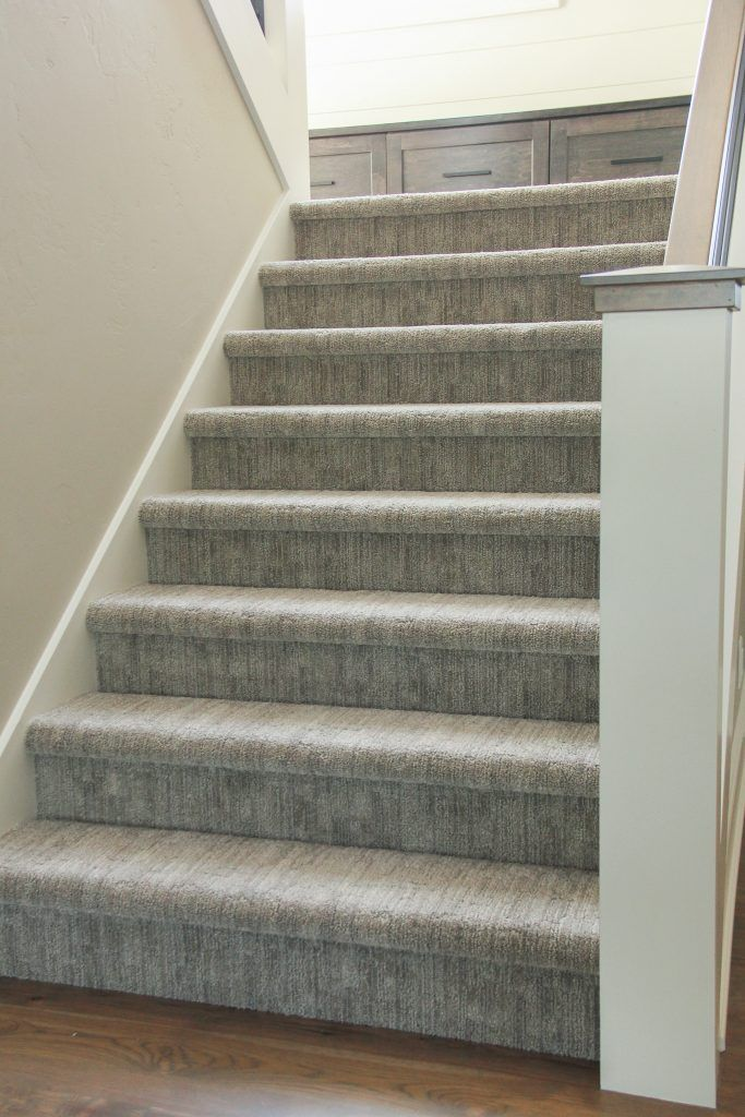 Light Grey Staircase Carpeting Grey Stair Carpet Carpet | Carpet For Bedrooms And Stairs | Modern Staircase | Staircase Remodel | Dark Grey Carpet | Stair Railing | Stair Treads
