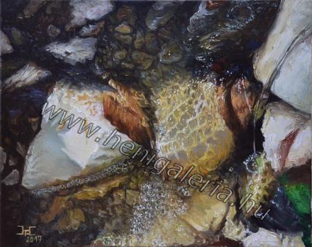 Patak csobogás / #Brook splashing oil #painting www.henigaleria.hu