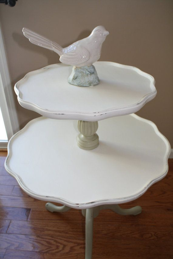 Cream And Green Beautiful Vintage Scalloped Pie Crust Edge Two Tiered Table  On Etsy,