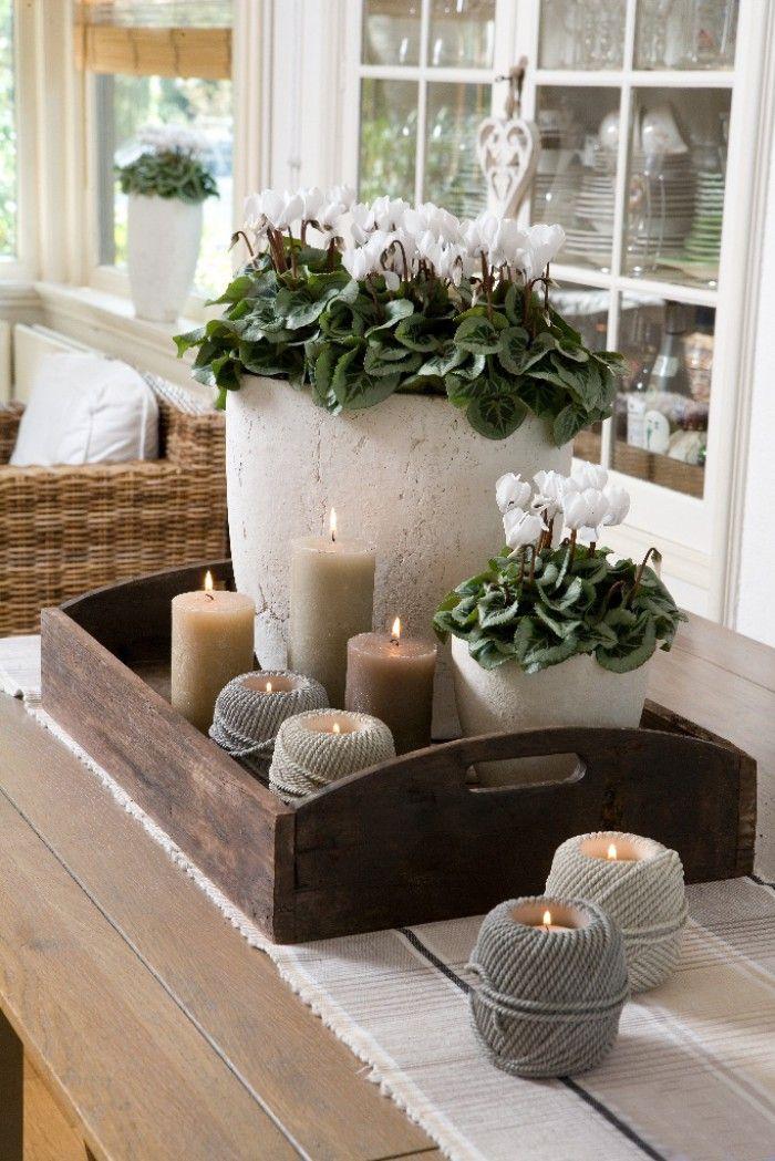 Mijn vergaarbak van leuke ideeën die ik wil toepassen in mijn huis. - Een leuke combinatie van planten en kaarsjes