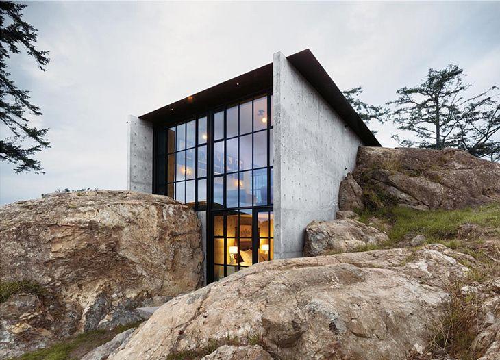 The Rock House: Olson Kundig, Kundig Architects, San Juan Islands, Olsonkundig, Stone, Rock, Architecture, Concrete House, Design
