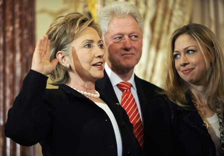 Bill, Hillary and Chelsea Clinton