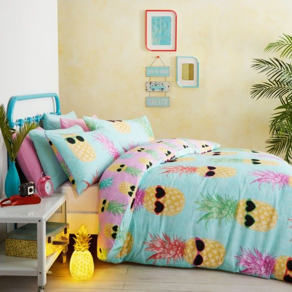 Funky Pineapples duvet covers. Qwerky bedding for girls of all ages with images of pineapples with sunglasses. This Catherine Lansfield range comes in singles & doubles.