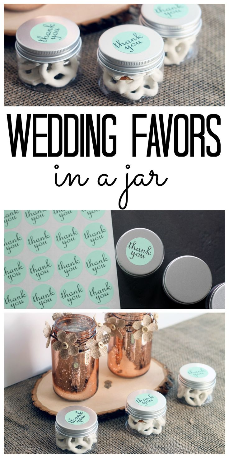 These wedding favors in small mason jars are perfect for your wedding! The jars are actually plastic so no worries about the guests breaking these wedding favors!