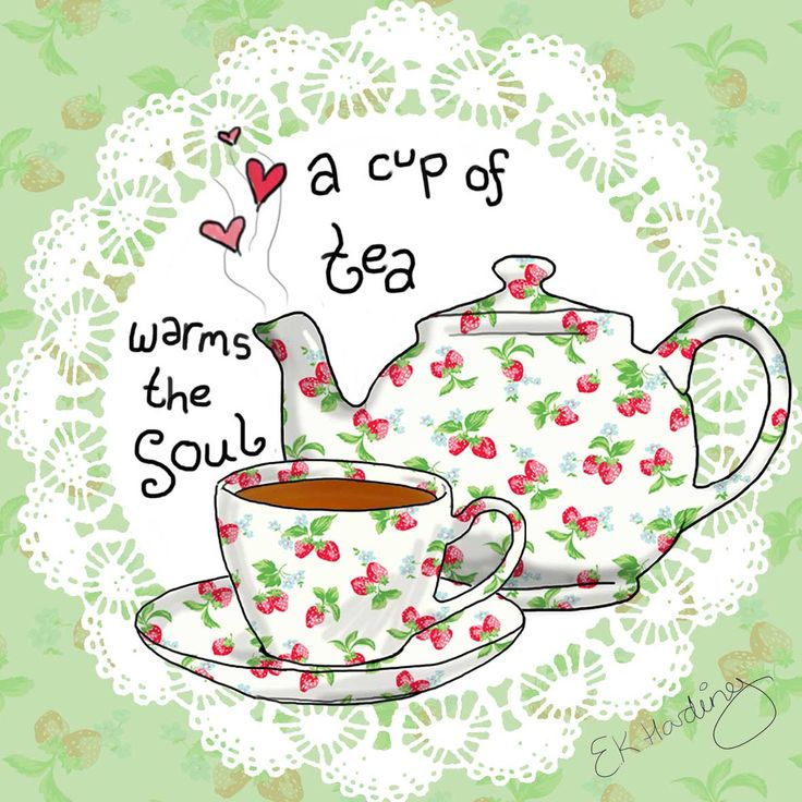 A cup of tea warms the soul  #illustration #tea By Esther Kezia