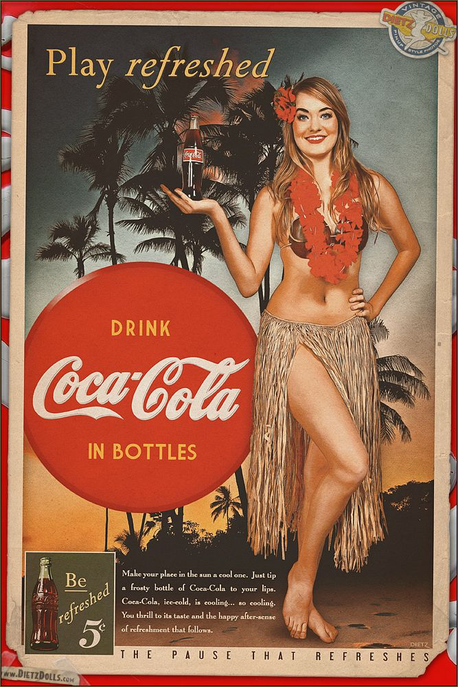 A new Coca-Cola themed pinup today featuring Brie in this tropical setting of Oahu to commemorate the slow ending of summer (though for California the temperatures are still hot!). Why not crack open a nice Coca Cola today?