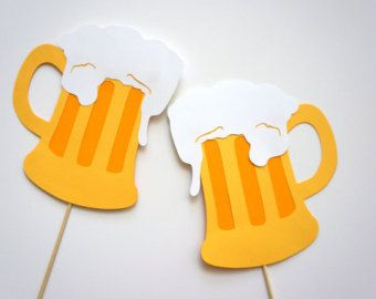 Photo Booth Props - Set of 2 Beer Mug Photo booth Props - Fun Photobooth Props