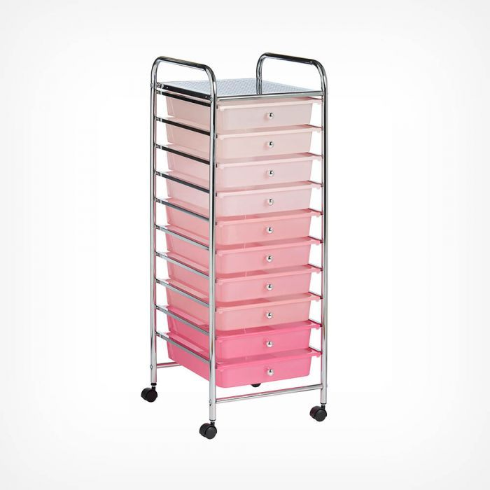Pink Ombre 10 Drawer Trolley Storage Crate Storage Drawers