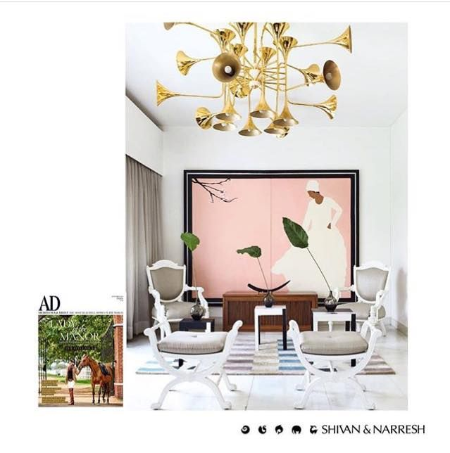 SHIVAN & NARRESH H O M E S   Retro style chandeliers juxtaposed with classical furniture in luxurious upholsteries to create spaces that embody exquisite material & colour palettes   Discover the first #ShivanAndNarresh Home project featured in @ArchDigestIndia photographed by @BjornWallander   #Interiors #Spaces #InteriorDesign #FashionHomes