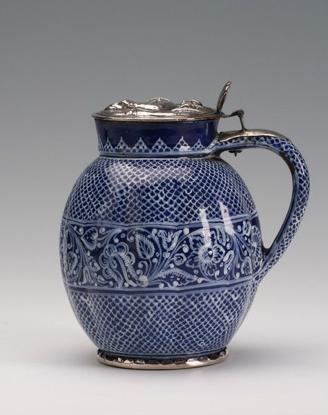 A silver-mounted Anabaptist or Hutterite faience jug 1600s