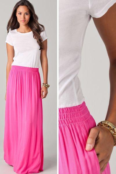 summer dress!: Pink Maxi, Summer Fashion, Maxi Dresses, Summer Dresses, Neon Pink Skirts, Long Skirts, Tees Maxi, Summer Clothing, Maxi Skirts