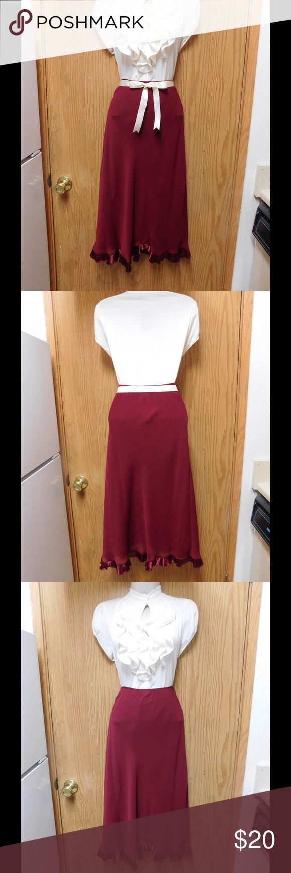 Chic Burgundy Maxi Skirt W/Lining &Belt-Waistband This skirt is really cute and adorable. Soft and comfy material. Belt included. Gorgeous color and exquisite design. Size Large 14 - Almost New. Save $$$ on bundles. Skirts Maxi