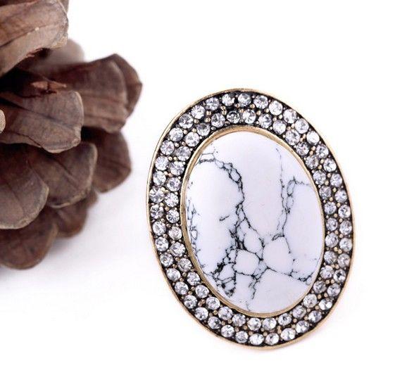 White Gem Dome Ring