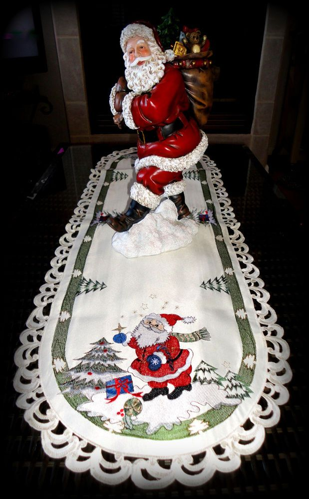 "CLASSIC SANTA  Doily 43"" Table Runner  Lace Christmas  St.  Nick  Tree"