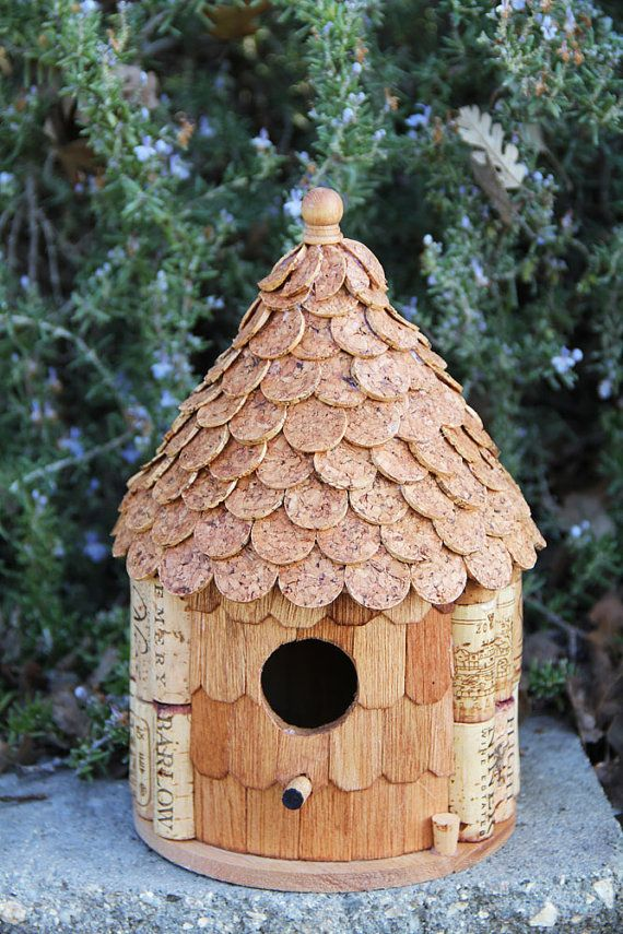 Roundhouse birdhouse, wood and wine corks. This is sold out right now but need to watch and see if more get posted for sale. vb