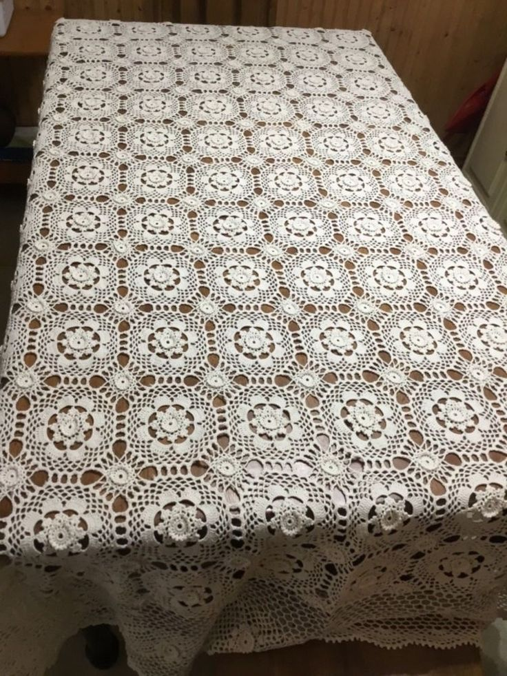 Details about Vintage French hand made coverlet crochet 59×82 curtain bed cover tablecloth