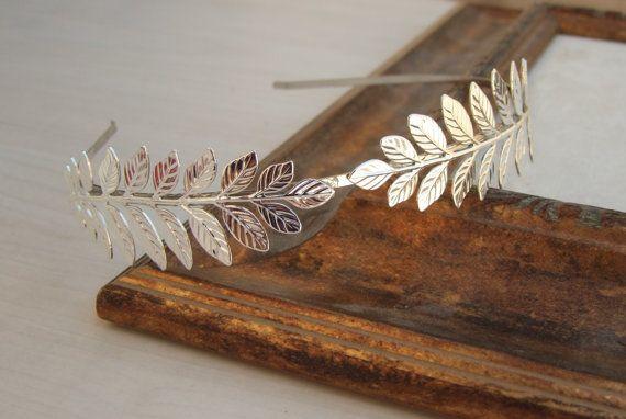 Bridal  Silver Headband,  Leaf Headband, Leaf Crown Tiara, Grecian Headband, Hair Accessories, Greek Goddess Crown on Etsy, $60.23 AUD
