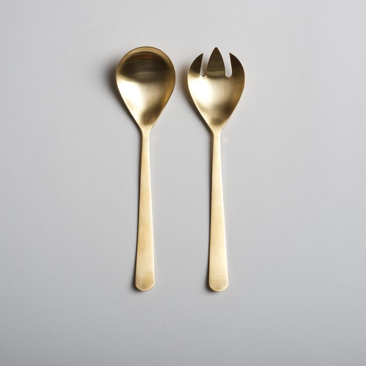 Toss Your Salad In Style | Brushed Gold Serving Set [shopburkelman.com] #serveware #thanksgiving #tablescape