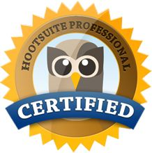 Hootsuite Professional Certified: Means we know our stuff with Social Media for Businesses.  Also a great piece of software.