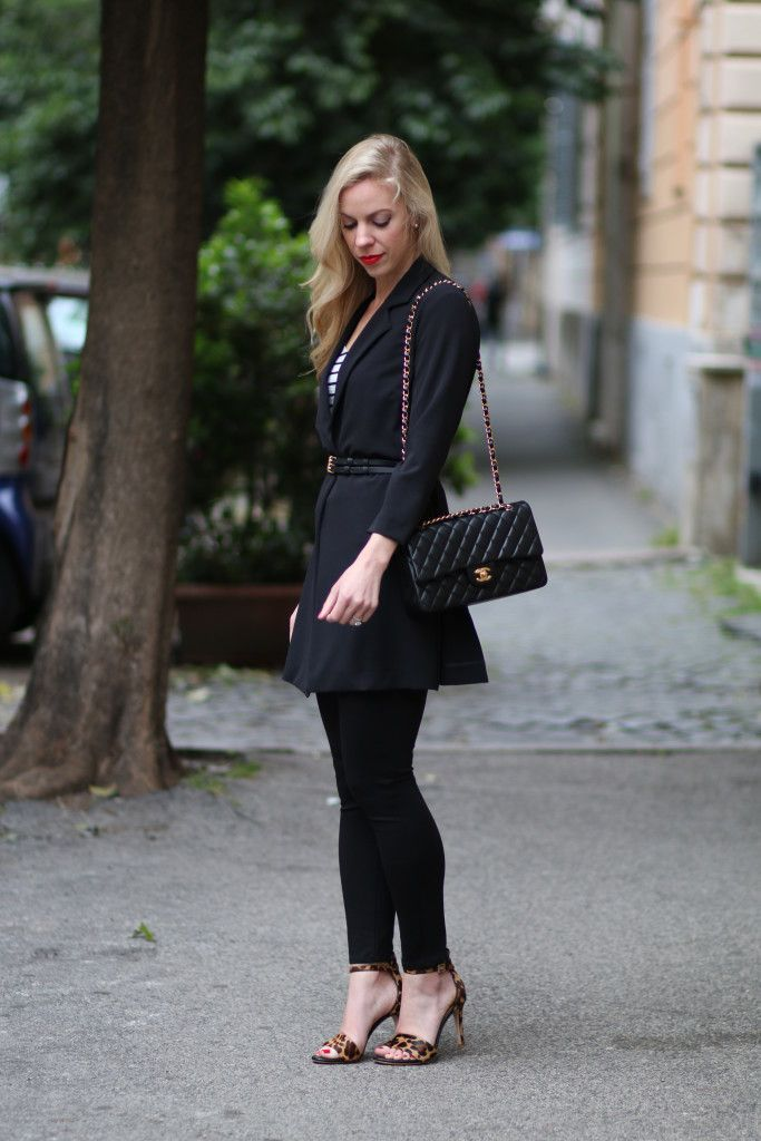 Classic Black: long black blazer, belted blazer, 7 For All Mankind high waist black skinny, leopard print sandals, Chanel black and gold medium classic flap bag, all black outfit