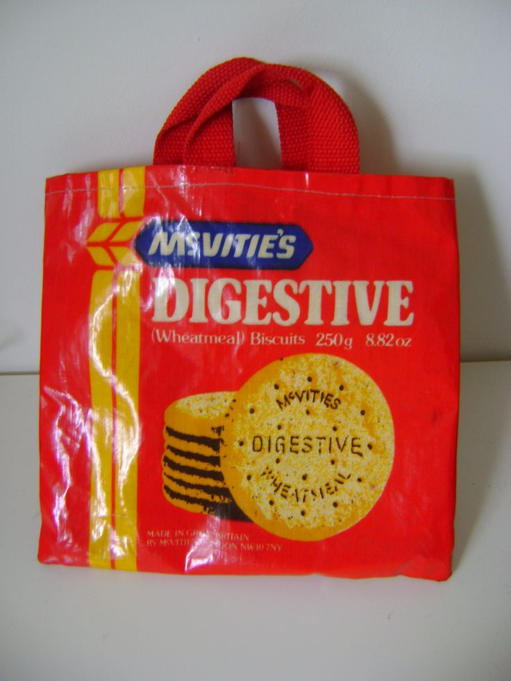 A small retro McVities digestive biscuit bag.