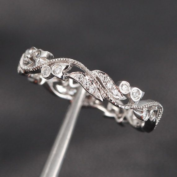 Pave .30ct Diamonds 14K White Gold Floral  Milgrain  Wedding Band Engagement Ring