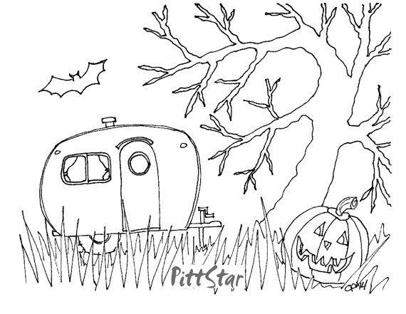 Digital Line Art Instant Download  Halloween Retro by PittStar