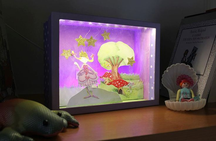 Princess - Diorama in a box with cutout paper figures and led strip light | Children room | Fairy tale by boxdiorama on Etsy