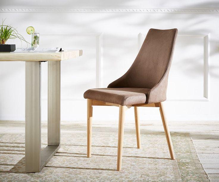 Esszimmerstuhl Kolonia Braun Bequeme Polsterung Beine Eiche Möbel Stühle  Esszimmerstühle