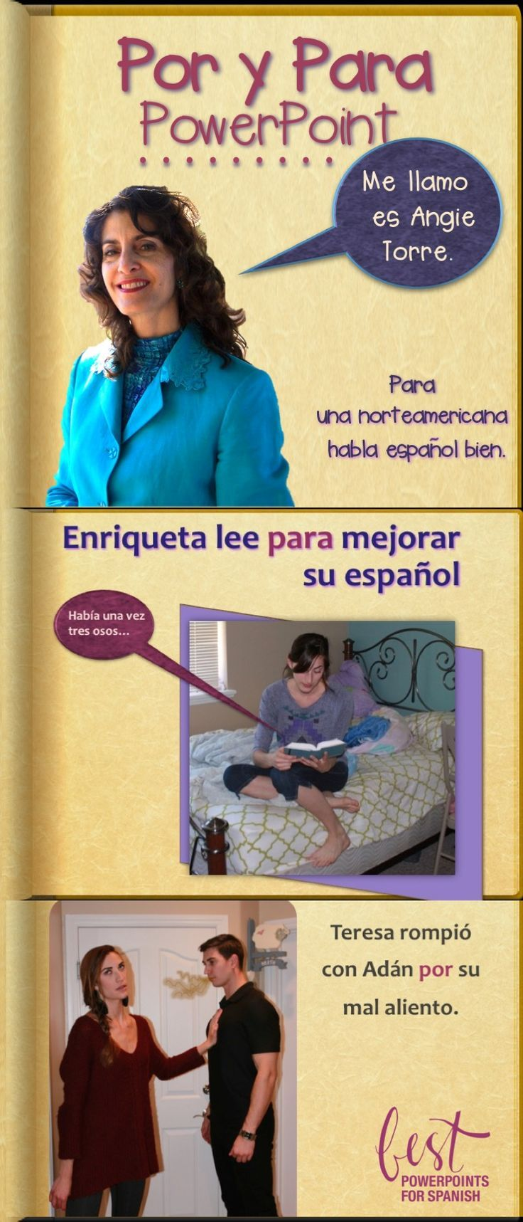 """Are your students confused about when to use the Spanish """"Por: and """"Para""""?  This 81-slide PowerPoint uses illustrations and practice activities to clearly explain the uses 100% in the target language.  Students also learn idiomatic expressions.  See what else is included.  (Don't you love it when students say, """"Me llamo es...""""  Agh!)"""