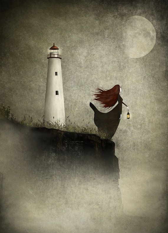 The Lighthouse widow  A4 size 8.3 x 11.7  illustration by majalin