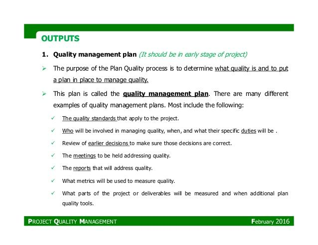 Image Result For Example Of A Quality Management Plan How To