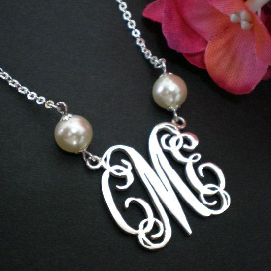 Personalized Silver Pearl Monogram Necklace - Gift for Wedding, Bridesmaid, Birthday on Etsy, $52.00