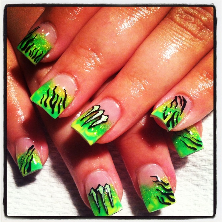 Monster energy drink nails free handed art