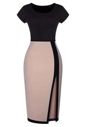 Laconic Color Blocking Short Sleeve High Waist Dress | Rosewe.com