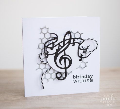 Paula Pascual Musical Notes Card  Find more of these paper craft, card making and scrapbook creations using Tonic Studios / Nuvo products at www.tonic-studios.com