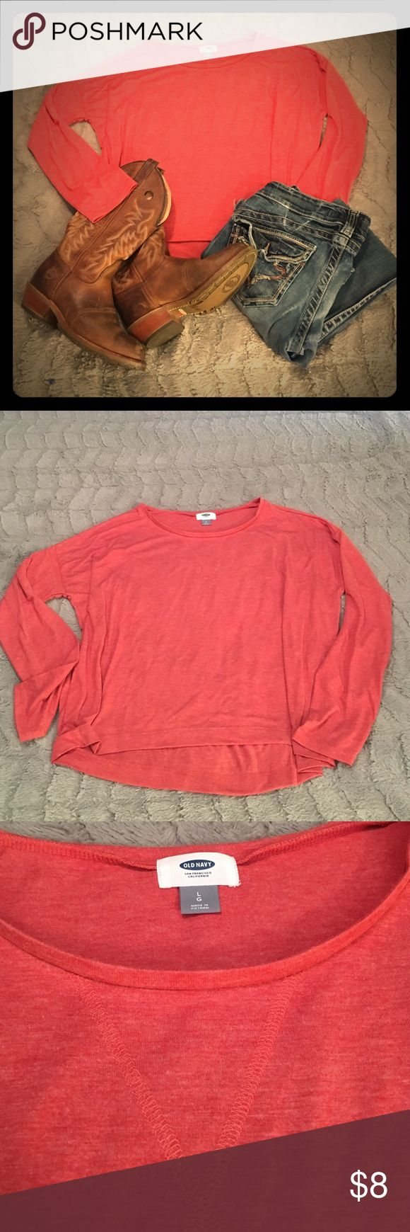 Old Navy, Orange, Long Sleeve Top Burnt orange, long sleeve shirt. Slight high-low top. Excellent condition and really cute. Old Navy Tops Tees - Long Sleeve