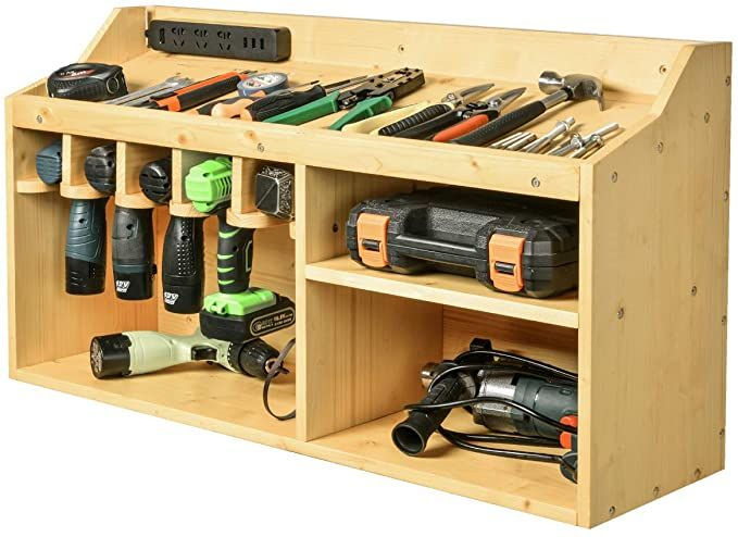 Wall Mounted Power Tool Drill And Battery Charging Storage With French Cleat In 2020 Power Tool Storage Tool Storage Tool Storage Diy