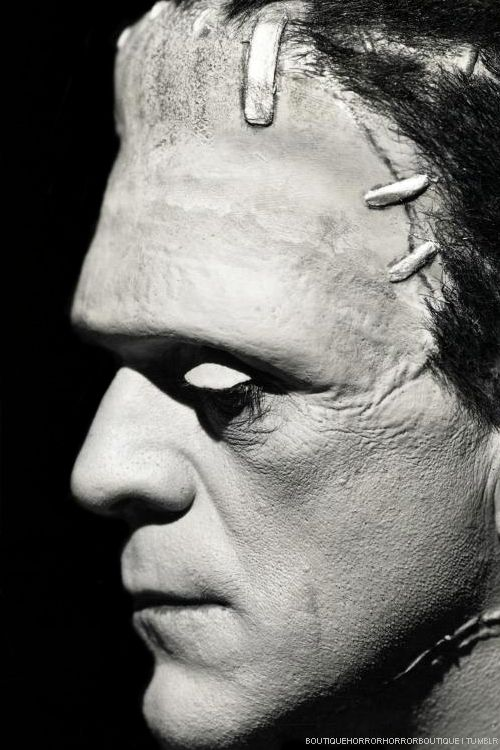 Boris Karloff in Bride of Frankenstein (1935) - no one saw this monster as having permanent flattop before the '30s; now everyone does