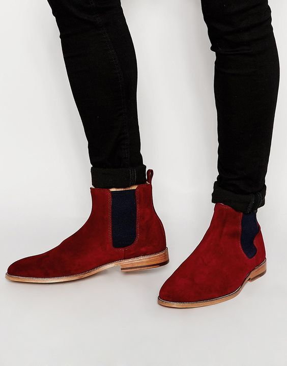 5900e8b8256 Handmade Red New Leather Boot Suede Chelsea Boots Men Ankle Leather Boot -  Boots