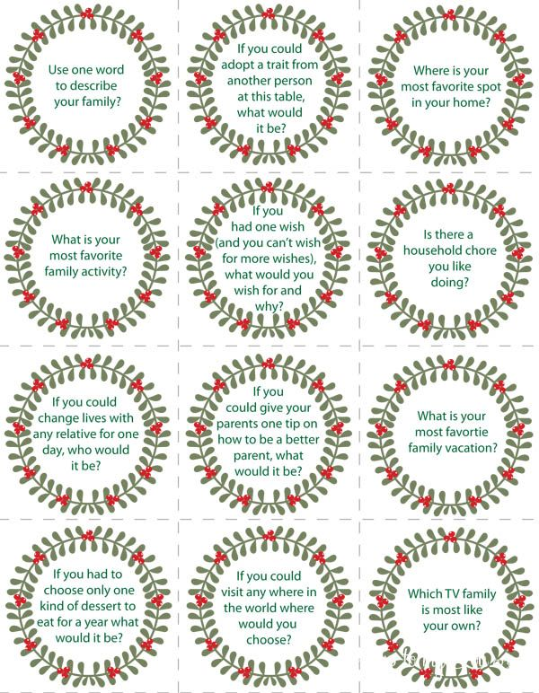 Merry Christmas! If you are having a big family dinner today get the conversation flowing with these printable conversation starters. Each little card has a question to prompt your guests. I have several Christmas conversation starter cards so pick the one that goes best with your table. The printable conversation starter cards are great to keep handy just in case your guests are speechless. Good Conversation Starters Download the file,...